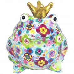 Pomme Pidou Spardose FROSCHKÖNIG FREDDY hellblau mit Blumen #pommepidou #spardose #sparfigur #keramiksparfigur #froschkönig #freddy #froschspardose