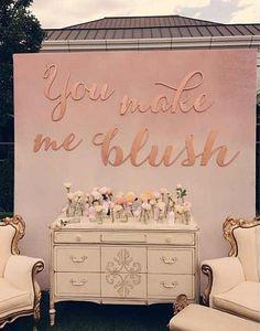 """You Make Me Blush"" Amorology Wedding Backdrop- Find it at backupbackdrops.bigcartel.com"