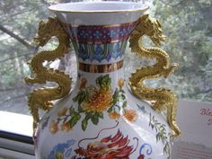 RARE FRANKLIN MINT BLESSING OF THE IMPERIAL DRAGON VASE 24 KARAT GOLD COATED