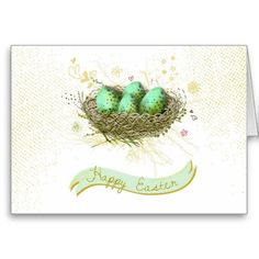 Happy Easter! - Birds nest with colorful eggs Greeting Card