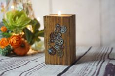 Reclaimed Wood Candle Holder, Rustic Tealight Holder, Primitive Decor, Rustic Decor, Wooden Telight Holder, Rustic Home Decor