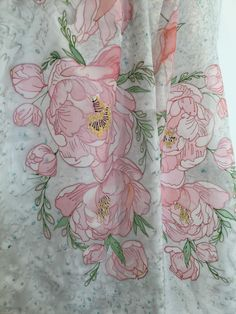 45 x 180 cm/ 21 x 70 in. Chiffon Shawl, Silk Painting, Pink Peonies, My Works, Scarves, Hand Painted, Natural, Fabric, Etsy