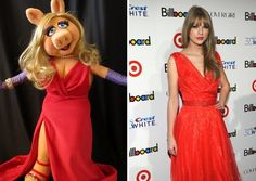 who wore it better? Miss #piggy or these celebs? #taylorswift #aniston