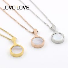 Pan Shape Pendant Shell Necklace Pendant Fashion Necklace Wholesale Cheap Jewelry Stainless Steel Necklaces JOVO LOVE Jewelry