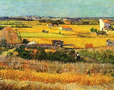 Harvest at La Grau with Montmajout in The Background o/c 91+71cm. 1888 by Vincent Van Gogh