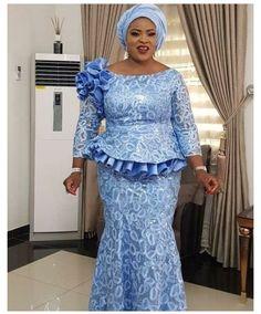 Nigerian Lace Styles Dress, Lace Blouse Styles, African Dresses For Kids, Lace Dress Styles, African Maxi Dresses, Latest African Fashion Dresses, African Lace Styles, Lace Skirt And Blouse, Peplum Dress