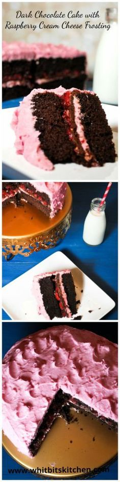 Dark Chocolate Cake Raspberry Cream Cheese Frosting - So rich and delicious!