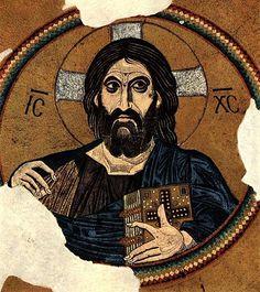 Monastère de Daphni, mosaïque de la coupole du naos l'église de la Dormition, vers 1100 : le Christ Pantocrator