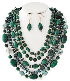 Chunky Five Layers Mix Green Acrylic Bead Necklace Set Elegant Costume Jewelry #uniklookdesignerjewelry #layeredstrand