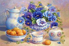 Blue Pansies | 51465_apricot_and_blue_pansies.jpg