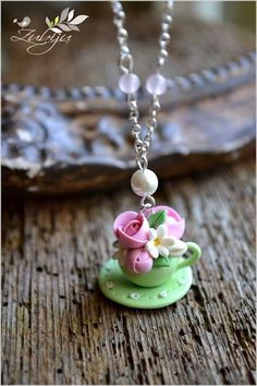 Teacup flowers- polymer clay necklace by Zubiju
