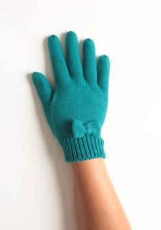 Snow Bunny Bow Gloves In Mediterranean Blue By Tulle