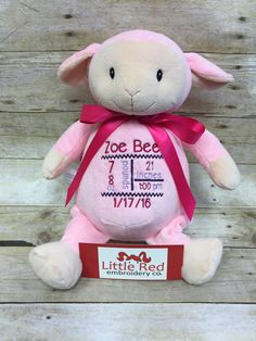 Cubbies™ Pink Lamb Stuffie with Custom Embroidery