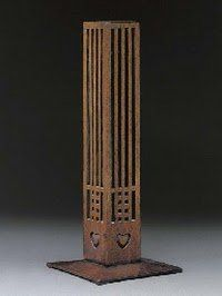 Stained Oak Flower Holder designed by Charles Rennie Macintosh for the Willow Tea Rooms, Glasgow, Scotland, c. 1903.