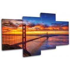 Többrészes vászonkép - Golden Gate : Többrészes vászonképek - KaticaMatrica.hu - A minőségi falmatrica és faltetoválás webáruház Golden Gate, Opera House, Building, Travel, Buildings, Viajes, Traveling, Tourism, Outdoor Travel