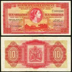 1966 Bermuda 10 Shillings Pick Number 19c Young Queen Elizabeth II Beautiful Fine or Much Better Banknote