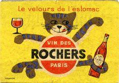 Matchbox label designed by Vernier for Vin des Rochers, c. 1950