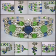 Genuine Lapis Lazuli and Chrysolite Crystal Silver Cuff