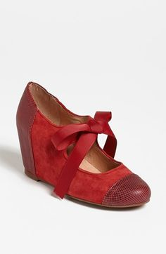 $87, Ynez Wedge Red Suede Combo 7 M by Jeffrey Campbell. Sold by Nordstrom. Click for more info: http://lookastic.com/women/shop_items/134432/redirect