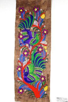 amate bird painting: turquoise, orange, green & purple | medium | $12 USD | created by Rodolfo
