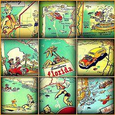 vintage map decor prints