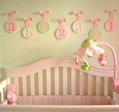 The Candice n Katies Art Children Kids Baby Wood Round HANGING WALL LETTERS Nursery Decor come in a very soft and cute shades of colors that are just perfect to suit your babies personality. There are soft pink, sweet pink and soft green colors. The round shaped wooden letter holders are also designed in different patterns with a letter drawn on each. The Candice n Katies Art Children Kids Baby Wood Round HANGING WALL LETTERS Nursery Decor are made with a cute soft pink ribbon to hang them…