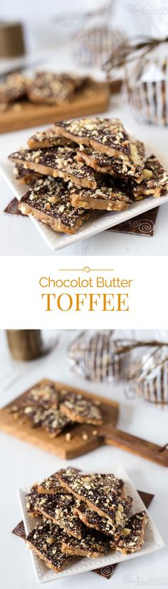 Crisp, rich butter toffee loaded with crunchy almonds, topped with creamy milk chocolate and more chopped almonds. Butter toffee recipe from Chocolot.