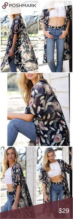 Navy Feather Printed Kimono/ Cover Up Navy Feather Printed Kimono/ Cover Up. Can be worn as part of your outfit or as a swimsuit cover up. 100% polyester. One size fits most Bchic Accessories Scarves & Wraps