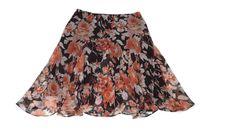 new RALPH LAUREN womens Light weight Orange Brown Floral Skirt Size L Large  #RalphLauren #FullSkirt