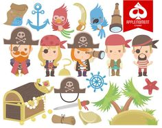 Items similar to Pirates Digital Clipart for Personal and Commercial Use on Etsy Favor Tags, Email Address, Commercial, Handmade Items, Wall Decor, Clip Art, Graphics, Zip, Digital