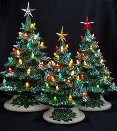 Old Fashioned Ceramic Christmas Tree - 3 Tree Collection