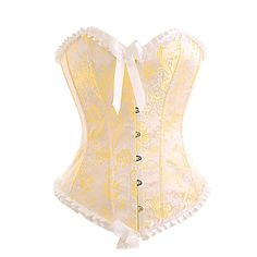 This beautiful gold and cream bridal corset is one of the most popular in the wedding wear range. A subtle pleated frill at the top and base of adds a very Victorian vintage feel (check out the detail pictures below), and the ribbon bow really sets the whole garment off.   This corset is perfect for both traditional and alternative styled weddings. The gold and cream color scheme goes well with traditional ivories and whites, but this corset can also be used to add a classic touch to a more…