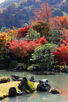 The garden of Tenryuji temple #japan #kyoto  http://www.japanesegardens.jp/gardens/famous/000020.php