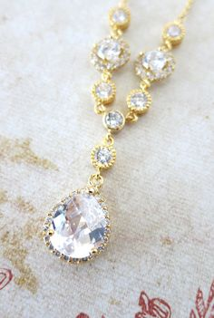 Bridal Necklace Sparkly Luxe Cubic Zirconia Necklace White Crystal Teardrop Pendant Bridesmaid Gold Champagne Wedding Jewelry, www.glitzandlove.com