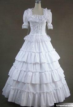 White Short Sleeve Victorian Gothic Lolita Wedding Prom Dress on www.ueelly.com