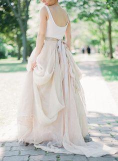 Elegant blush wedding skirt: http://www.stylemepretty.com/2017/04/26/colette-grand-cafe-wedding/ Photography: Artiese Studios - http://www.artiesestudios.com/
