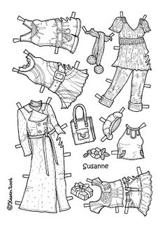 Karen`s Paper Dolls: Susanne 1-6 Paper Doll to Colour. Susanne 1-6 påklædningsdukke til at farvelægge.