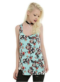 <p>We love the way the ultra feminine colors and crochet details mix perfectly with the darker skull and moth accents on this tank! We want to wear it all summer! Mint floral skull racer back tank top with cream floral crochet side hem detail.</p> <ul> <li>95% rayon; 5% spandex</li> <li>Wash cold; dry low</li> <li>Imported</li> <li>Listed in junior sizes</li> </ul>