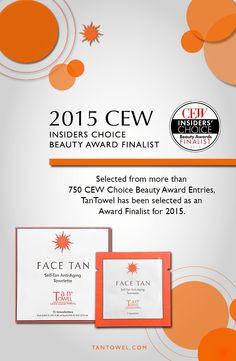 TanTowel is a Finalist in CEW Insiders' Choice Beauty Awards. We're heading to New York!  #tantowel #CEW #sunlesstan #beauty www.tantowel.com