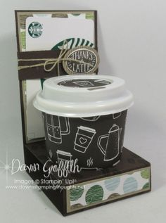 Mini Coffee Cup & Gift Card holder by Dawn Griffith all the details on this proj. - Mini Coffee Cup & Gift Card holder by Dawn Griffith all the details on this project plus a video ar - Mini Coffee Cups, Coffee Cup Holder, Coffee Cup Crafts, Coffee Gifts, Coffee Mugs, Drinking Coffee, Coffee Latte, Coffee Quotes, Gift Card Basket