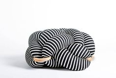 Medium knot Floor Cushion in Black & White stripes, Knot Floor Pillow pouf, Modern pouf, cushion, pouf ottoman This unique Knot cushion is inspired by nautical elements and aesthetics. The cushion utilizes a unique tying technique . Will Turner, Black White Stripes, Black And White, Dark Grey, Wine Making Kits, Knot Cushion, Meditation Pillow, Pouf Ottoman, Wooden Rings