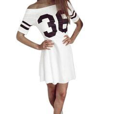 """Sunward(TM) Women Bodycon Short Sleeve Letter Sexy Mini Dress (Medium, White). As these sizes are Asian size, fitting for petite female,it is smaller 1-2 size than the US size, please choose the size careful. Size:S-Bust:80cm/31.5"""",Sleeve:21cm/8.2"""",Waist:66cm/25.9"""",Length:74cm/29.1"""". Size:M-Bust:84cm/33.0"""",Sleeve:21cm/8.2"""",Waist:70cm/27.5"""",Length:75cm/29.5"""". Size:L-Bust:88cm/34.6"""",Sleeve:22cm/8.6"""",Waist:74cm/29.1"""",Length:76cm/29.9""""...."""