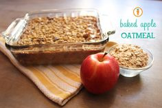 Baked Oatmeal with Apples & Cinnamon Recipe Breakfast and Brunch with rolled oats, sliced almonds, dried cranberries, apples, brown sugar, salt, milk, ground cinnamon