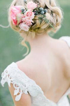 messy low bun updo hairstyle with blush pink flowers - Deer Pearl Flowers