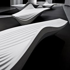 The Serac Bench, designed by Zaha Hadid for street furniture brand Lab23, is made from a resin and quartz composite that gives it a sparkling white colour.