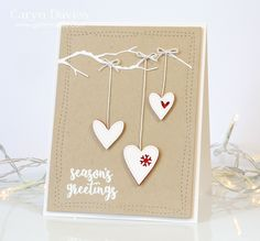 SSS Clean and Simple Christmas Challenge card by Caryn (#hearts; #branch die)