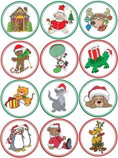 Make Your Own Christmas Cupcake Toppers: Printable Sheet Of Santa Images