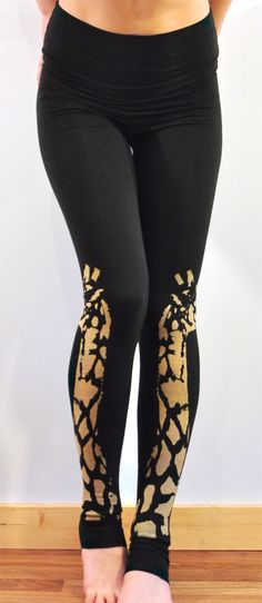 organic bamboo high waisted leggings with bold giraffe print in black // ready to ship on Etsy, $46.83
