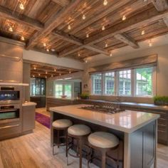 Trendy Kitchen Island With Stove Exposed Beams Kitchen Island With Stove, Kitchen Island Lighting, New Kitchen Cabinets, Wooden Ceiling Design, Wooden Ceilings, Open Ceiling, Ceiling Beams, Beam Ceilings, Layout Design