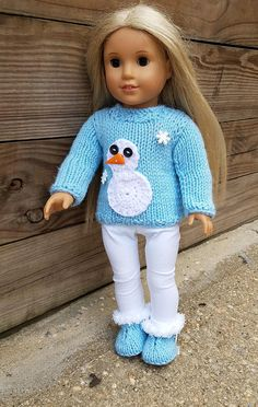 Too cute to wear an ugly sweater. Dress up your doll for a holiday season before its too late!  Ugly winter Christmas knitted sweater with crochet snowman applique and adorable eyes and nose buttons is designed to fit 18 inch doll, but if you prefer different color let me know and I will